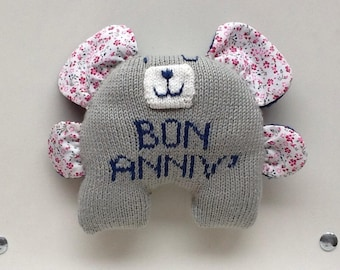 """Cuddly large Teddy bear embroidered """"Good ANNIV´"""" mid-fabric mi-tricot"""