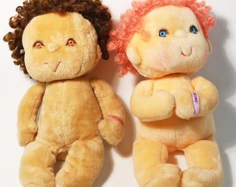 Pair of Vintage 1985 Kenner Hugga Bunch Huggins & Tweaker Plush Stuffed Dolls