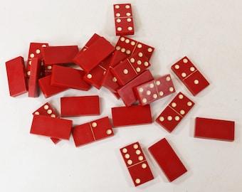 Lot of 28 Vintage Red Bakelite Dominos Dominoes