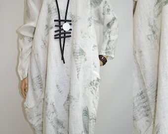 44 46 48 50 / 16 18 20 22 Italian Boutique Linen Lagenlook Tunic Dress Tie Dye Pockets