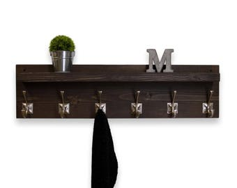 Floating Shelf Coat Rack  6 Hooks