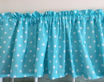 Blue with White Polka Dots Valance or Ruffled Sleeve Valance ~ 76 Inches Wide ~ Extra Wide