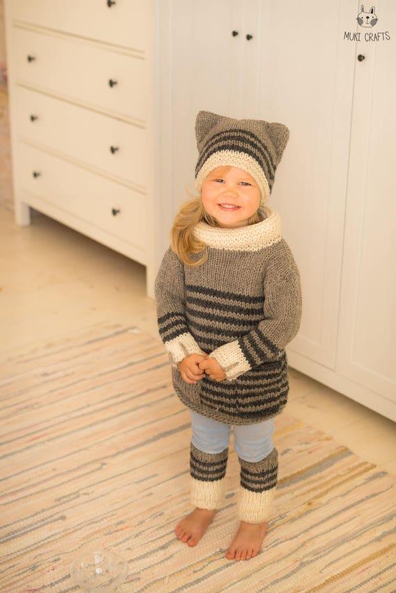 KNITTING PATTERN cat sweater hat leg warmers set Smokey ...