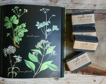 Black clay-Natural artisan soap-vegan soap-Tuscan olive oil-no Palma-Oli Essential-Cruelty free