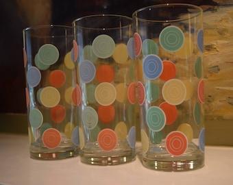 3 Vintage Fiestaware Glass Tumblers Fiestaware Plate Glasses