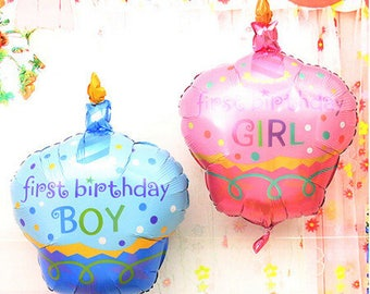 1st Birthday Boy/Girl Cupcake Balloon