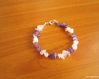 Rose quartz bracelet, amethyst, bracelet yoga, reiki, handmade