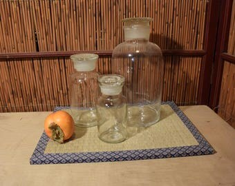 Vintage Round Glass Apothecary Bottle Set of 3 Ground Glass Stopper Lid