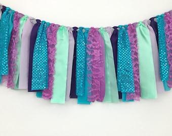 Mermaid Birthday Banner, Mermaid Rag Tie Garland, Mermaid Backdrop, Cake Smash, Bunting, Swag, Backdrop, Streamer, Photo Prop