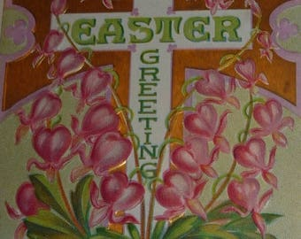 ON SALE till 7/28 Bleeding Heart Surround Easter Cross Antiuqe Postcard