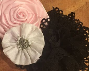 This is a Pink, Black and White Barrette or Headband of your choice. Flowers Lace Bow