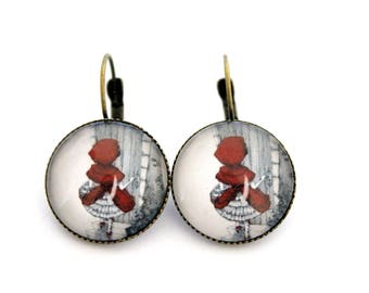 """Earrings sleepers """"little Red Riding Hood"""" cabochon 20mm"""