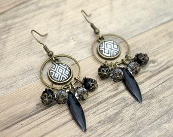 Earrings Bohemians graphic Argyle with black sequins - cabochon