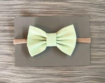 Mint Green Bow Headband | Baby Headband | Nylon Headband | One Size Fits All