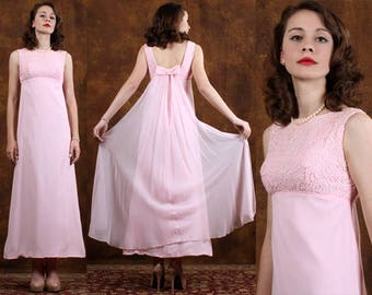 Vintage 60's Pin Up Cocktail Dress Pink Lace Chiffon Empire Party Long  XXS * PETITE*