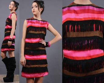 CURVY Vintage 60s SILK Hippie Go-Go Dress Fringe Flapper Stripe Cascade Mini L/XL