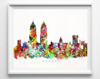 Mumbai Skyline, Print, India Print, Indian Wall Art, Watercolor Art, City Poster, Cityscape, Home Decor, Mothers Day Gift