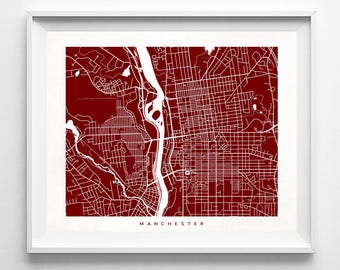 Manchester Map, New Hampshire Print, Manchester Poster, Modern Decor, New Hampshire Art, Wedding Gift, Office Decor, Mothers Day Gift