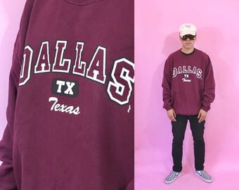 Vintage sweatshirt dallas texas maroon crewneck sweater 1990s 1980s 90s 80s college sweater tourist