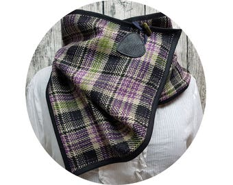 Winter scarf, winter, winter, autumn, scarf, cloth, accessories, Knopfschal, XXL cloth, checkered wool, enclosed, diamonds, purple, black,