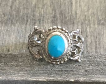 Silver Turquoise Ornate Ring
