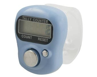 BLUE GREY Tally Counter. A light Blue grey LCD Digital Finger Tally Counter that fits like a ring on your finger. Count rows or stitches.