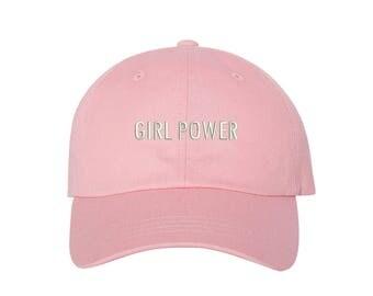 "GIRL POWER Dad Hat, Embroidered ""Girl Power"" Feminism Hat, Low Profile Feminist Girl Gang Baseball Cap Hat, Light Pink"