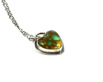 Turquoise Heart Pendant, Genuine Turquoise, Natural Turquoise Necklace, Boho Jewelry, Gift for Women, Heart Necklace, Gift for Her