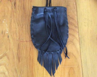 Black Leather Wrist Bag with Fringe, Possible Bag, Hand Made Cowhide Hip Pouch with Braid Drawstring,  Fringed Leather Pouch Made in Canada