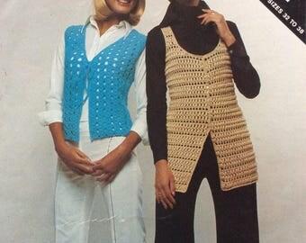 Ladies crochet vest pattern. Sizes 32 to 38