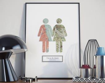 3D Take My Hand - Girl & Girl / Gay Lesbian Marriage Wedding Engagement Anniversary 3 Dimensional Wall Art Gift