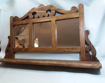Great with three mirrors rustic wood mantel