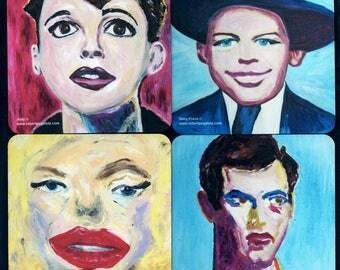 Fine Art Beverage Coasters featuring Celebrity Portraits