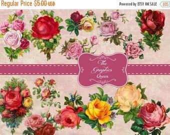 80 % off Graphics SaLe Vintage Victorian Flower Clipart Images Digital Collage Sheets for Scrapbooking, Cardmaking, Paper Supplies Digital D