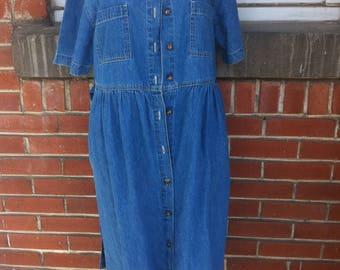 button up denim dress Large