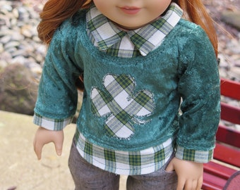 Newly Released! 18 Inch Doll St Patrick's Day Top - Green Velvet Sweater Top  - Modern Winter Doll Clothes - American Made Girl Doll Clothes