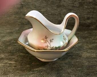 Schumann Arzberg Bavaria Wild Rose Open Sugar Bowl and Creamer, Germany, Gold Trim