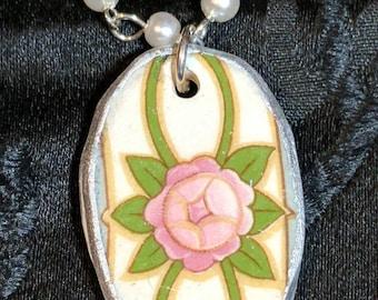 Broken Dish Pink Rose Necklace