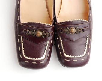 Vintage 90s Purple Penny Loafers Women Retro Indie Hipster Hip Hop Made in Italy Shoes US 8.5 / EUR 39 / UK 6.5