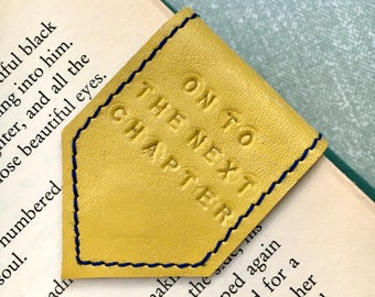 Magnetic Bookmark | Leather Bookmark Bright Yellow with Blue Suede Lining | Personalise Bookmark | 3rd Anniversary Gift |Book Lover Gift