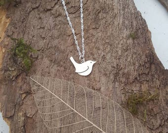 Sterling silver Wren pendant