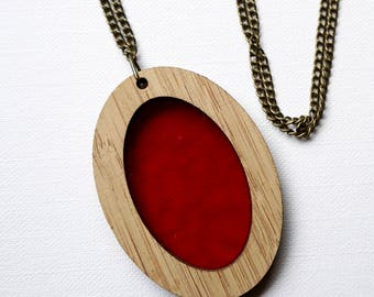 Red Glass in Wooden Oval Pendant on chain