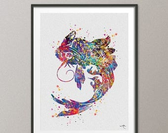 Koi Fish Watercolor Painting Print Art Print wedding gift Luck Poster Feng Shui Japanese Art Wall Decor Art Home Decor Wall Hanging [NO 637]