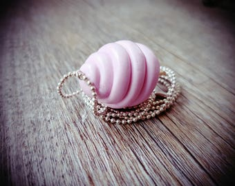 "Micro ""Cotton candy"" silver ball chain necklace"