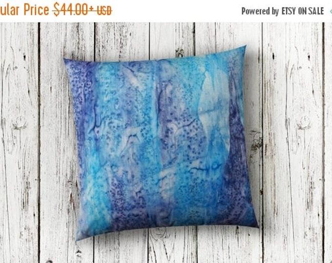 SALE Navy Blue Pillow Cover 18x18-Watercolor Silk Pillow-Nautical, Boho, Beach, Zen Decor-Gift