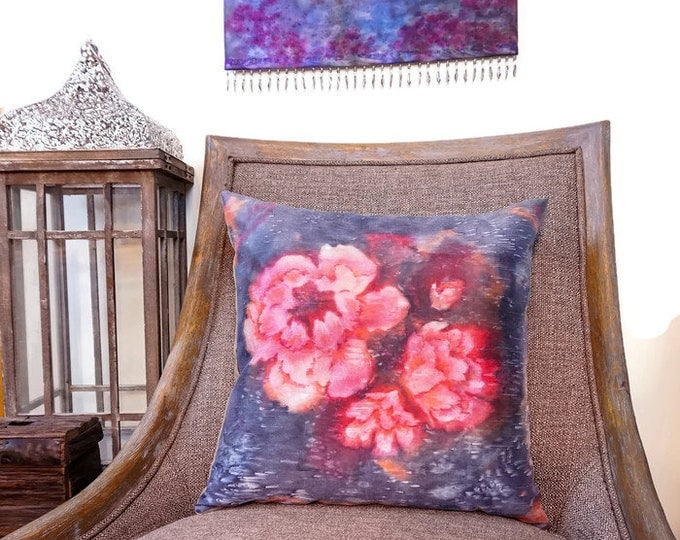 Large Scale Floral Pillow-Watercolor Pillow-Garden Decor-Boho Decor-Cottage Decor-Mother's Day Gift-Home Decor Gifts-Watercolor Home Decor