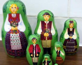 Polish Folk Family Wooden Matryoshka Nesting Dolls