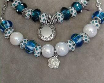 European Turquoise Charm Bracelets, Silver Locket, Turquoise Beaded Bracelets, Opalescent and Turquoise, Rhinestones, 2 Styles, BOGO SALE