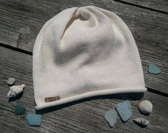 Cotton beanie hand knit hat READY TO SHIP
