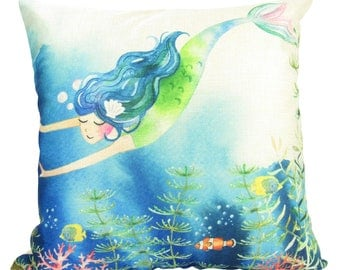 Watercolor Mermaid Diving in the Sea - Pillow Cover